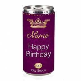City Secco Happy Birthday Perlwein mit Wunschname (weiß trocken) 200 ml -