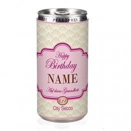 City Secco in der Dose zum Geburtstag mit Wunschname (weiß trocken) 200 ml -
