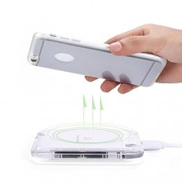 Antye® Qi Wireless Drahtlos Ladegerät Kit für iPhone6 Plus/6S Plus(5.5 Zoll)【Drahtlos ladegerät lade pad+ Wireless Charging Receiver für iPhone 6 Plus/6S Plus】(Stilvoll, Praktisch und Bequem) (Silber/Weiß(SQ)) -