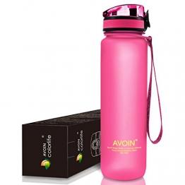 AVOIN colorlife Sport-Wasser-Flasche - 500ml & 1000ml - verschiedene Farbenauswahl - BPA frei/Ungiftig & Umweltfreundlicher Tritan Kunststoff, Klappbarer auslaufsicherer Deckel, mit einem Klick zu öffnen -