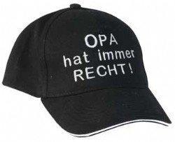 Baseball-Cap mit Stickmotiv OPA HAT IMMER RECHT (schwarz) -