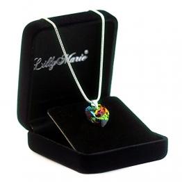 Eine Silberkette aus 925 Silber mit original Swarovski® Elements Herz Anhänger, mehrfarbig, 14 mm, mit Schmucketui, ideal als Geschenk für Frau oder Freundin -