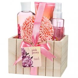 Freida & Joe - Bade Geschenkset in heller Holzschachtel mit rosa Pfingstrosen Design -