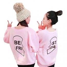 Freundinnen Kleidung,Yistu BE FRI & ST END Buchstabe Druck Langärmlige mit Kapuze Strickjacken Spitzen Blusen Schwester Shirt (S, BE FRI) -