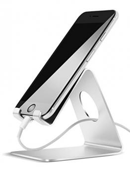 Handy Halterung, Lamicall iphone Dock : Handyhalterung, Handy Halter, Phone Ständer, für HUAWEI iPhone 7 6 6s plus 5 5s, Samsung S3 S4 S5 S6 S7 Zubehör, Schreibtisch, E-Reader, andere Smartphone - Silber -