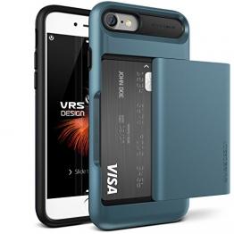 iPhone 7 Hülle, VRS Design [Damda Glide Serie] Semi-Automatisch Kartenfach mit Militärischer Schutz für Apple iPhone 7 2016 - Blau -