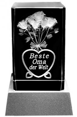 Kaltner Präsente Stimmungslicht - Das perfekte Geschenk: LED Kerze / Kristall Glasblock / 3D-Laser-Gravur Blumen BESTE OMA -