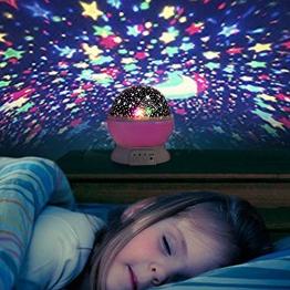 Liqoo® Sternenhimmel Projektor Sternenlicht Nachtlicht 360 Grad 4 LED-Korne Romantische Nacht Lampe Tischlampe drehbar Sterne Projektionslampe für Haus, Schlafzimmer, Kinder Zimmer, Weihnachten, Hochzeit, Geburtstag, Party Rosa -