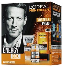 L'Oreal Paris Men Expert Geschenkset Energy Box Männerpflege -  Pflegeset inkl. erfrischendem Reinigungsgel + 24h Anti-Müdigkeit Feuchtigkeitscreme und Hydra Energy Taurin Duschgel Geschenk Beauty -