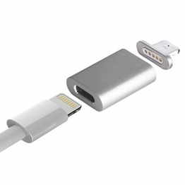 OKCS® Schnell und Sicher magnetischer Lightning Adapter Ladekabel Adapter Magnetkabel ähnlich Magsafe für Apple iPhone SE, 6, 6s, 6 Plus, 6s Plus, 5, 5s, 5c, iPad Mini, 4, Air, iPod - in Silber -