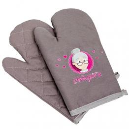 """Oma Geschenk zum Geburtstag oder Weihnachten * Oma Ofenhandschuhe * Ofenhandschuhe Set (Ofenhandschuhe Paar, 2 Stück) bedruckt - Ofenhandschuhe pink und grau """"Für meine Lieblingsoma"""" mit GRATIS Glückwunschkarte - tolles Weihnachtsgeschenk für Oma: Oma Ofenhandschuhe lustig von MyOma -"""