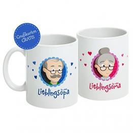 """Oma Opa Geschenke * Geschenk für Oma und Opa * Oma Tasse und Opa Tasse Set """"Für meine/n Lieblingsoma/opa"""" als super Oma und Opa Geschenkideen - Geschenk Oma und Geschenk Opa mit GRATIS Glückwunschkarte - Oma Geschenk und Opa Geschenk zu Weihnachten und Geburtstag von MyOma - sofort lieferbar -"""