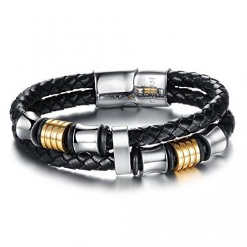 Ostan - Gotik 316L Edelstahl und Leder Armbänder Armreifen Herren Armband - Neue Mode Schmuck Armschmuck, Schwarz -