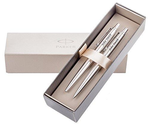 Personalisierte Geschenke - Gravierte Set Kugelschreiber und Bleistift PARKER JOTTER - Kostenlose Lasergravur mit Ihrem Namen, Logo oder Slogan, Vatertag, Personalisierte Hochzeitstag-Geschenk - Silver -