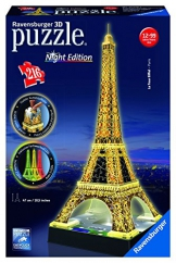 Ravensburger 12579 - Eiffelturm bei Nacht - 216 Teile 3D-Puzzle-Bauwerk Night Edition -