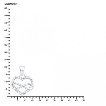 s.Oliver Damen-Kette mit Anhänger Herz Infinity 925 Silber rhodiniert Zirkonia weiß 45 cm-2012604 -
