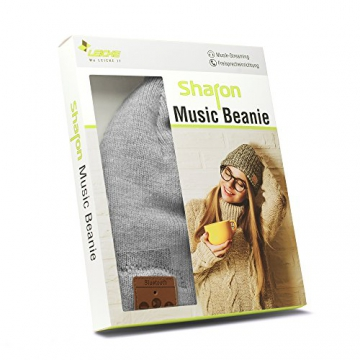 Sharon Music Headset Beanie | AirPods Bluetooth Mütze grau Strickmütze | Mütze Musik Funkkopfhörer Stereo-Lautsprecher-Mikrofon Kopfhörer Wireless Smart Cap | kompatibel mit iPhone 7, iPhone 7 Plus, Galaxy S7, S7 Edge, Galaxy S8, Huawei P9 9 Lite Mate 9, Windows Phone -