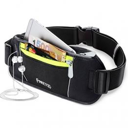 [Sport Hüfttasche] FREETOO Gürteltasche flache und enganliegende Bauchtasche mit Kopfhöreröffnung für Handy bis 5.5Zoll - für Reise und Sport entwickelt, schwarz  Unisex -