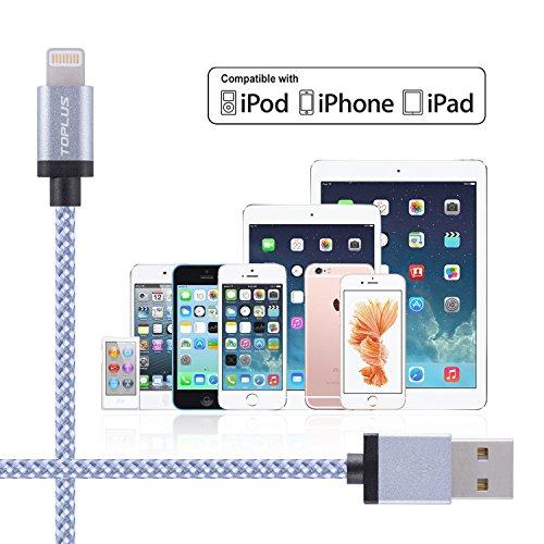 TOPLUS [2 Stück] 2m Nylon Lightning USB Kabel Ladekabel Datenkabel mit Aluminum Kopf für iPhone 6/6s/6 Plus/6s Plus/SE/5/5c/5s, iPad 4 Mini Air iPod Nano 7 iPod Touch 5 (Silberweiß) -