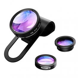 VicTsing 3 in 1 Clip On Fisheye Fischauge Objektiv Kamera Adapter (180 Grad Fisheye Objektiv, 0.65X Weitwinkelobjektiv, 10X Makroobjektiv) -