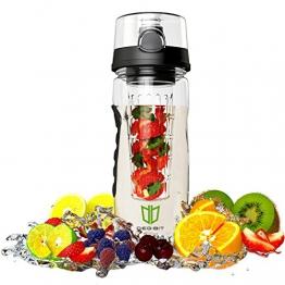 Wasserflasche, DEGBIT® [BPA-freiem Tritan] Kunststoff Trinkflasche Sport, Flasche ca. 1L, Sportflasche Auslaufsicher, Trinkflaschen BPA Frei Infuser mit Verschluss & Tragehenkel, Wasserflasche Schwarz -