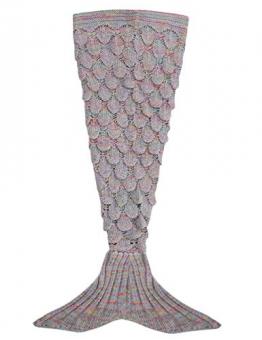 YiZYiF Meerjungfrau Decke Handgemachte Schwanz-flosse Strickdecke Blanket Sofa Schlafsack für Damen, Baby und Mädchen als Geschenke (Für Kinder, Grau A) -