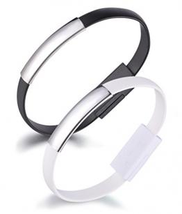 Yumilok Armband Ladekabel USB Datenkabel Lightning Kabel für iPhone 7, 7 Plus, 6, 6s, 6 Plus, 6s Plus, 5, 5s, 5c, SE, iPod und iPad mit Lightning Anschluss, 2 Stücke(Schwarz, Weiß) -