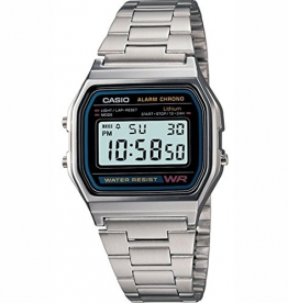 Casio Herren-Armbanduhr Digital edelstahl Silber A158WA -