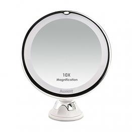 Auxent Kosmetikspiegel LED Beleuchtet mit 10x Vergrößerung und Saugnapf, 360° Schwenkbar, Make-Up-Spiegel Schminkspiegel mit Blendfreier Beleuchtung für Zuhause und Unterwegs -