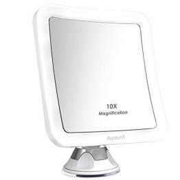 Auxent Kosmetikspiegel LED Beleuchtet mit 10x Vergrößerung und Starkem Saugnapf, 360° Schwenkbar, Make-Up-Spiegel Schminkspiegel mit Blendfreier Beleuchtung für Zuhause und Unterwegs -