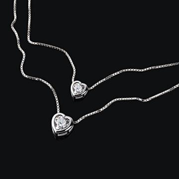 B.Catcher Kette Damen Halskette Herz Anhänger Doppelkette 925 Sterling Silber 5A Zirkonia Schmuck Weihnachten Geschenk -
